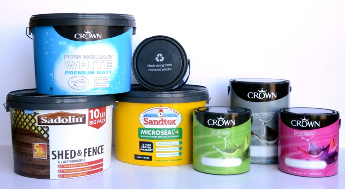Crown Paints introduces 100% recycled plastic containers